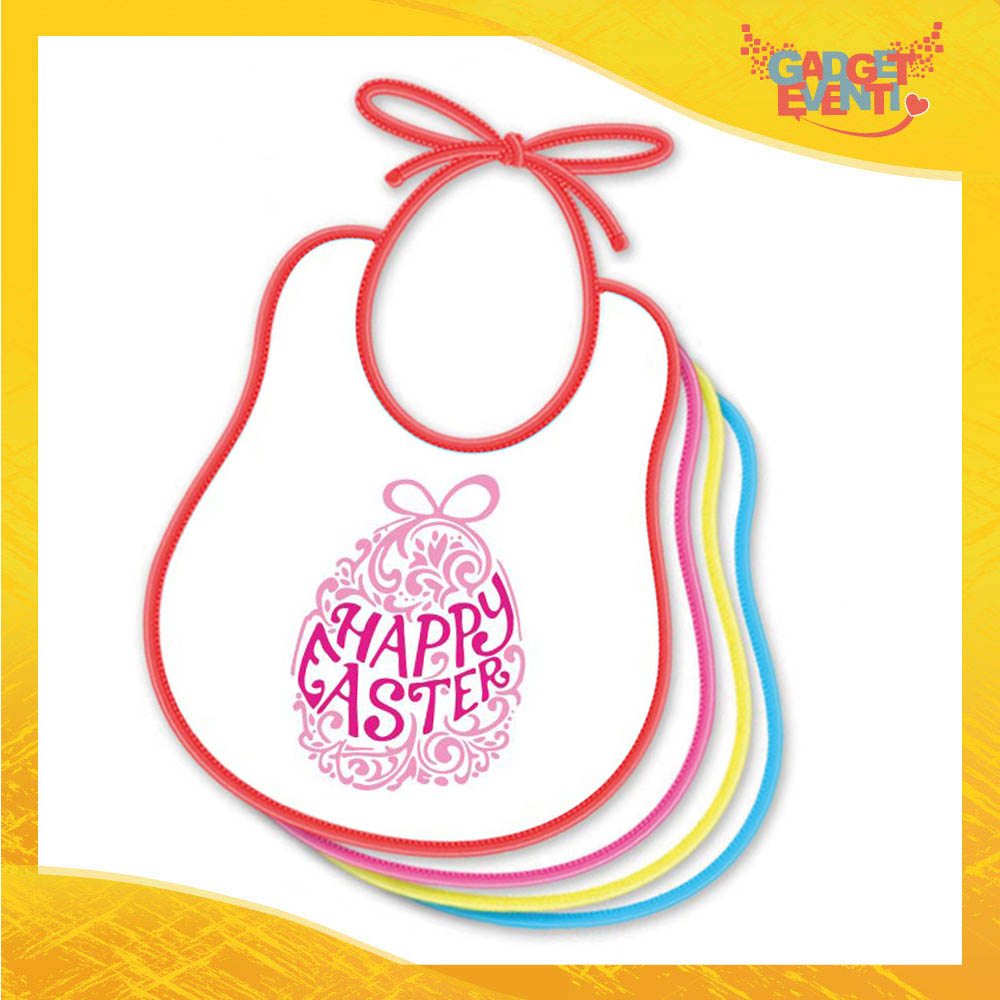 """Bavetto Bavaglino Bimbo Femminuccia """"Happy Easter"""" idea regalo Pasqua Gadget Eventi"""