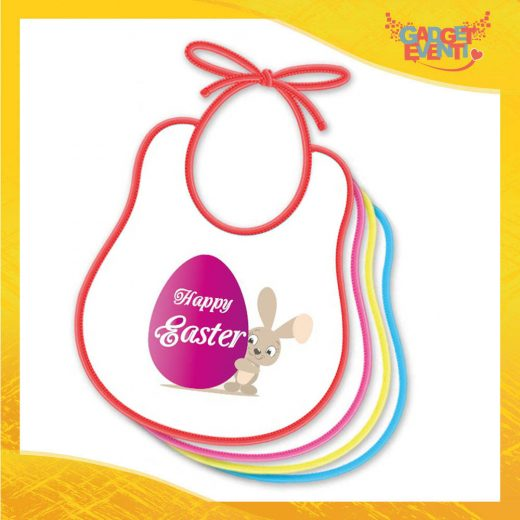 """Bavetto Bavaglino Bimbo Femminuccia """"Happy Easter Uovo"""" idea regalo Pasqua Gadget Eventi"""