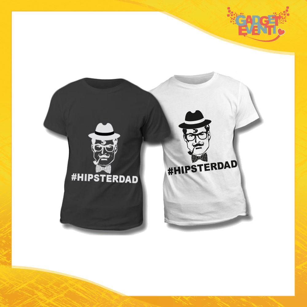 """Maglietta T-Shirt Regalo Festa del Papà """"Hipster Dad"""" Gadget Eventi"""