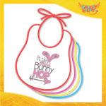 """Bavetto Bavaglino Bimbo Femminuccia """"Little Bunny Hop"""" idea regalo Pasqua Gadget Eventi"""