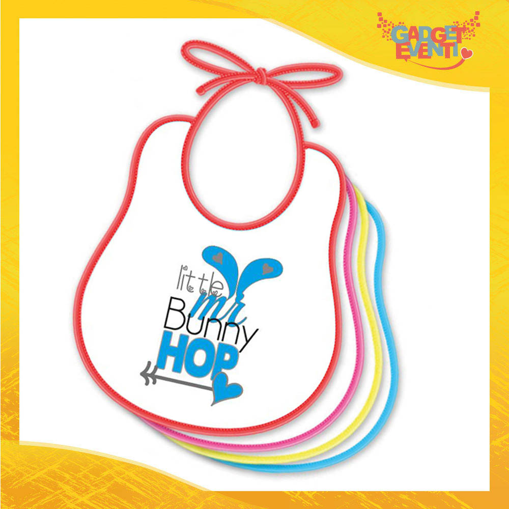 "Bavetto Bavaglino Bimbo Maschietto ""Little Bunny Hop"" idea regalo Pasqua Gadget Eventi"