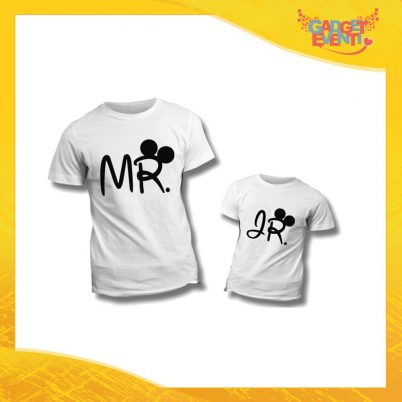 """Coppia di T-Shirt Bianche """"Mister Junior Disney"""" Maglietta Padre Figlio Maglia Idea Regalo Festa del Papà Gadget Eventi"""