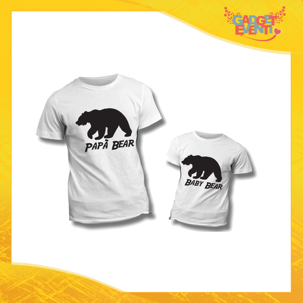 """Coppia di T-Shirt Bianche """"Papà Baby Bear"""" Maglietta Padre Figlio Maglia Idea Regalo Festa del Papà Gadget Eventi"""