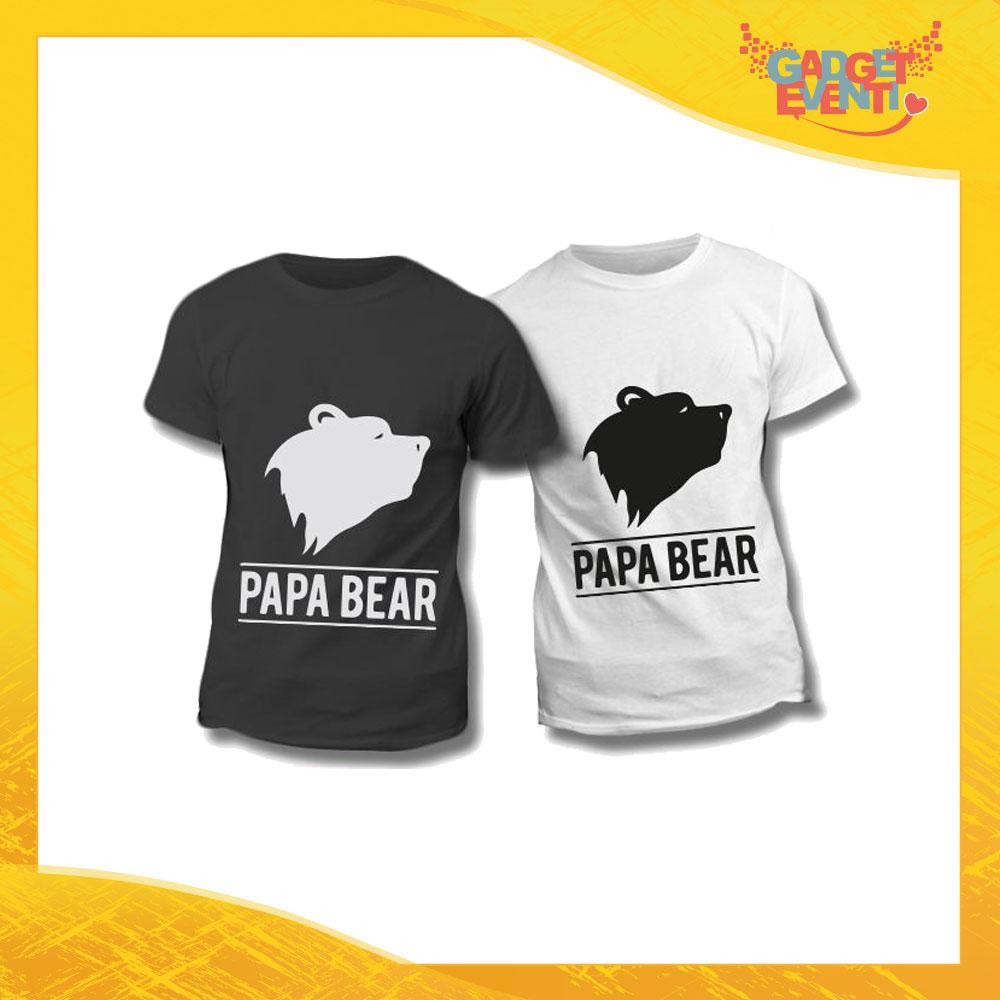 "Maglietta T-Shirt Regalo Festa del Papà ""Papà Bear Head"" Gadget Eventi"
