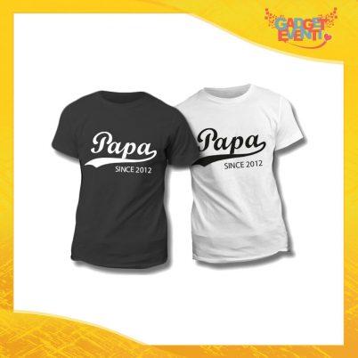 "Maglietta T-Shirt Regalo Festa del Papà ""Papà Since Data"" Gadget Eventi"