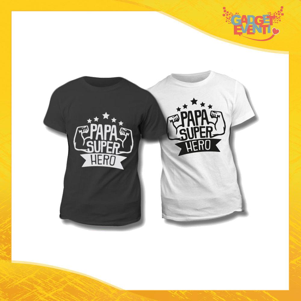 "Maglietta T-Shirt Regalo Festa del Papà ""Papà Super Hero"" Gadget Eventi"