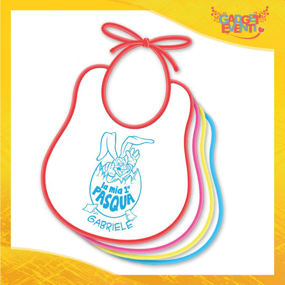 """Bavetto Bavaglino Bimbo Maschietto """"Prima Pasqua Coniglio"""" idea regalo Pasqua Gadget Eventi"""