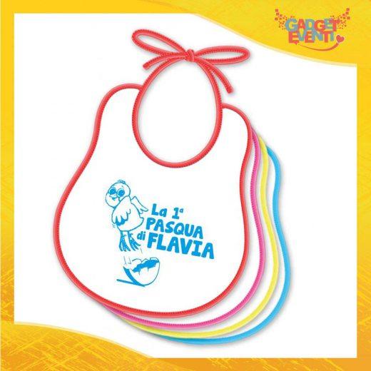 """Bavetto Bavaglino Bimbo Maschietto """"Prima Pasqua Pulcino Volante"""" idea regalo Pasqua Gadget Eventi"""