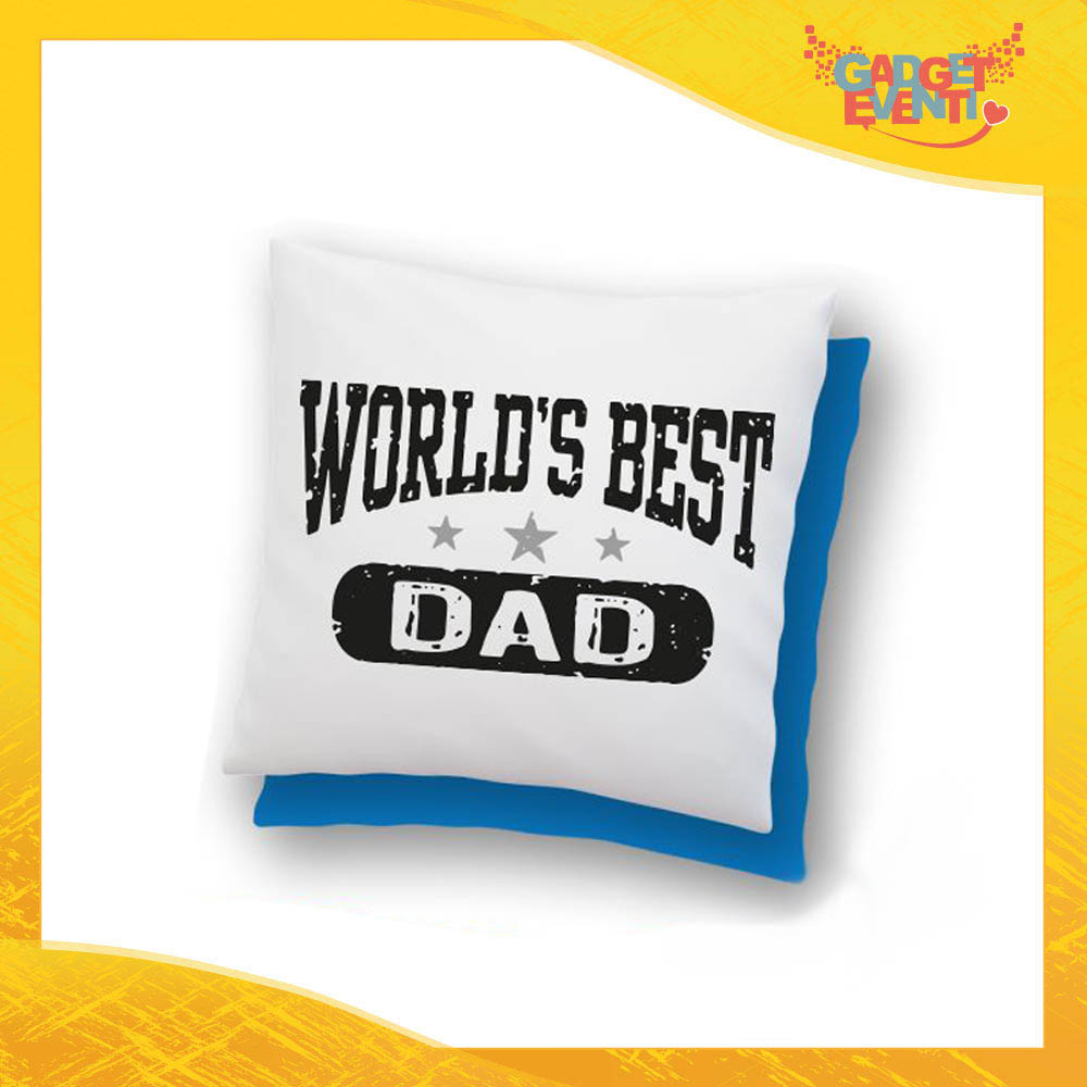 "Cuscino Quadrato ""World's Best Dad"" Idea Regalo Festa del Papà Gadget Eventi"