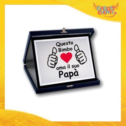 """Targa Decorativa Maschietto """"Ama il suo Papà"""" Idea Regalo Festa del Papà Gadget Eventi"""