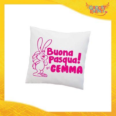 """Cuscino Quadrato Femminuccia """"Buona Pasqua Coniglio"""" Idea Regalo Pasquale Pasqua Gadget Eventi"""
