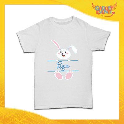 """T-Shirt Bimbo Maschietto """"Coniglietto con Nome"""" Regalo Pasquale Pasqua Gadget Eventi"""