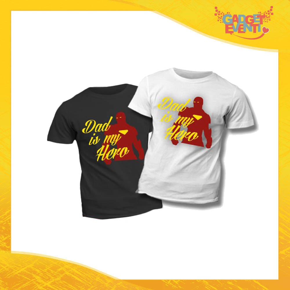 """T-Shirt Bimbo """"Dad is My Hero Red"""" Idea Regalo Bambino Festa del Papà Gadget Eventi"""