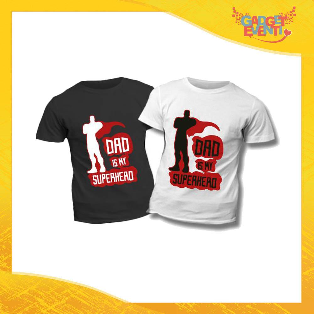 """T-Shirt Bimbo """"Dad is My Superhero"""" Idea Regalo Bambino Festa del Papà Gadget Eventi"""