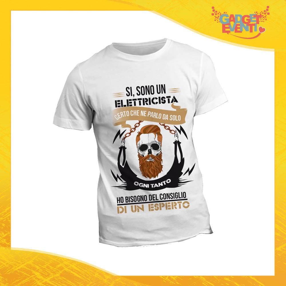 """T-Shirt Maglietta Bianca per """"Elettricisti"""" Mestiere Lavoro Gadget Eventi"""