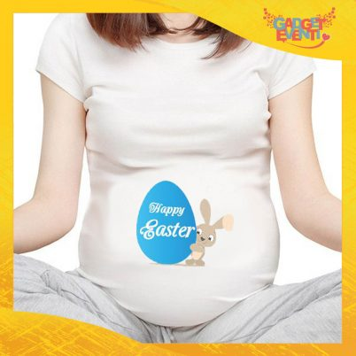 "T-Shirt Premaman Maschietto ""Happy Easter Uovo"" Regalo Pasquale Pasqua Gadget Eventi"