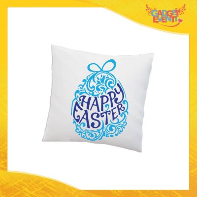 "Cuscino Quadrato Maschietto ""Happy Easter"" Idea Regalo Pasquale Pasqua Gadget Eventi"