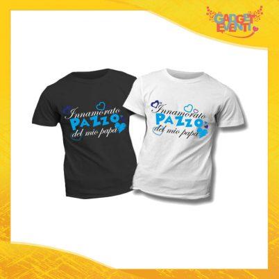 """T-Shirt Bimbo Maschietto """"Innamorato Pazzo del Mio Papà"""" Idea Regalo Bambino Festa del Papà Gadget Eventi"""