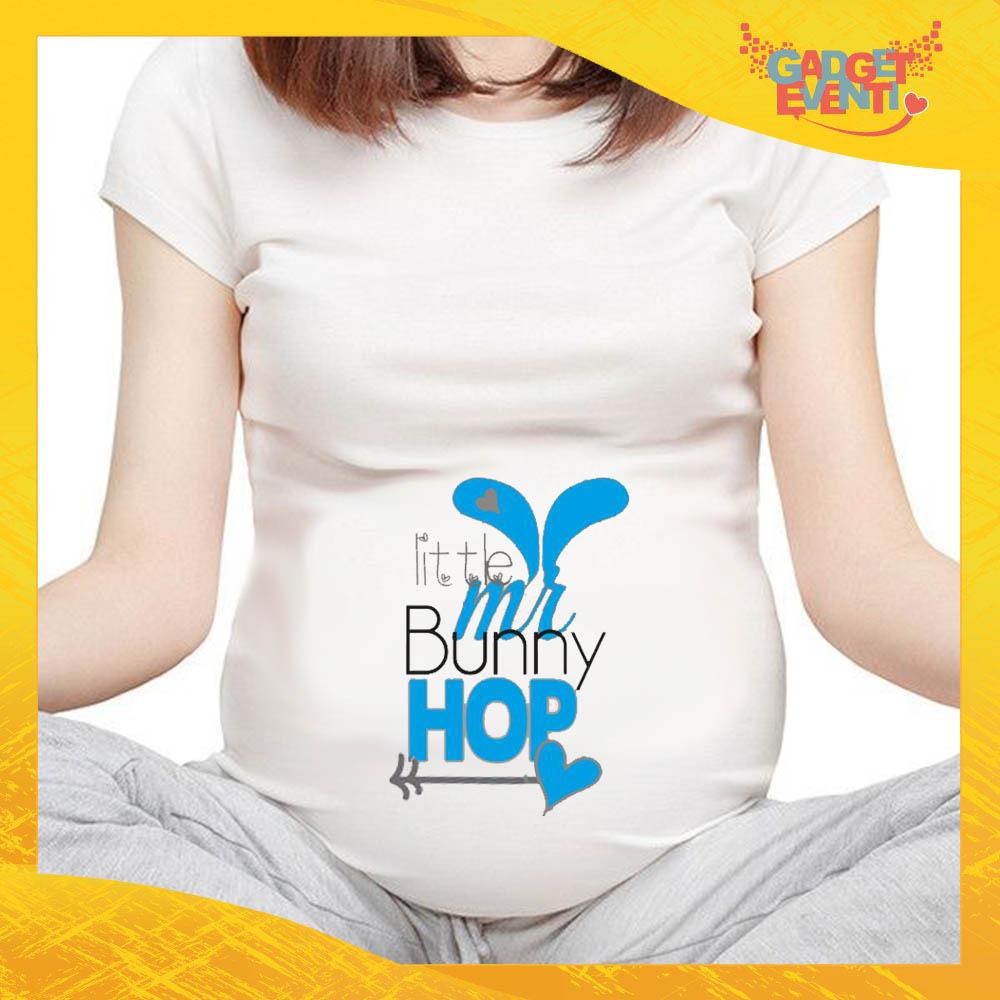 "T-Shirt Premaman Maschietto ""Little Bunny Hop"" Regalo Pasquale Pasqua Gadget Eventi"