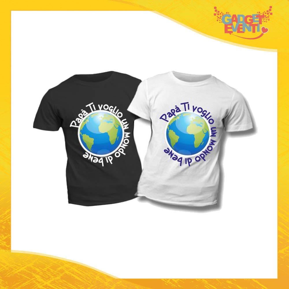 """T-Shirt Bimbo """"Un Mondo di Bene"""" Idea Regalo Bambino Festa del Papà Gadget Eventi"""