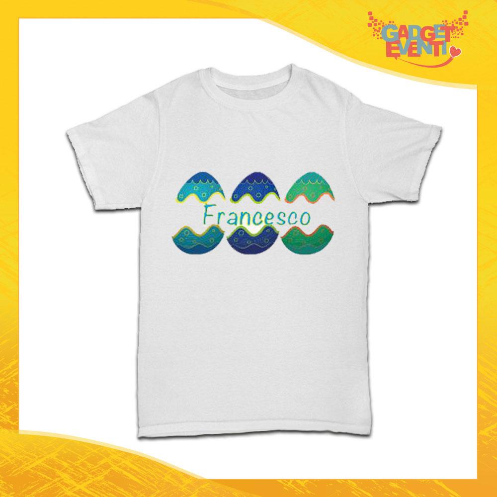 """T-Shirt Bimbo Maschietto """"Uova con Nome"""" Regalo Pasquale Pasqua Gadget Eventi"""