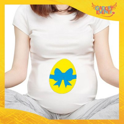 """T-Shirt Premaman Azzurro """"Uovo con Fiocco"""" Regalo Pasquale Pasqua Gadget Eventi"""