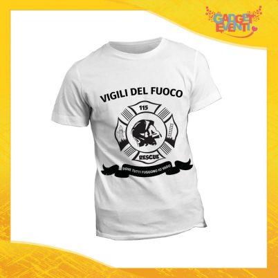 """T-Shirt Maglietta Bianca per """"Vigili del Fuoco"""" Mestiere Lavoro Gadget Eventi"""