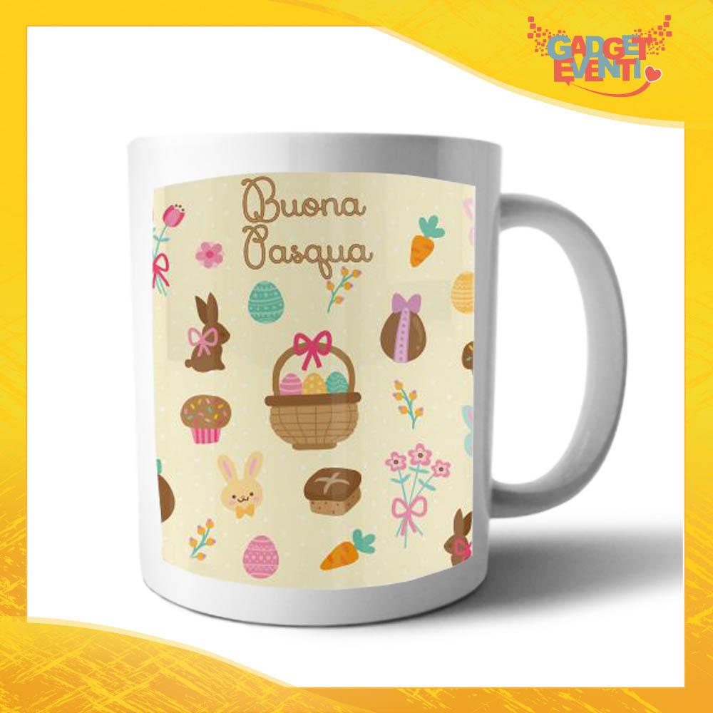 """Tazza per la Colazione """"Buona Pasqua Cestino"""" Mug Idea Regalo Pasquale Pasqua Gadget Eventi"""
