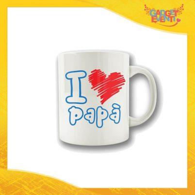 """Tazza Scritta Azzurra Cuore Rosso """"I Love Papà"""" Colazione Breakfast Mug Idea Regalo Festa del Papà Gadget Eventi"""