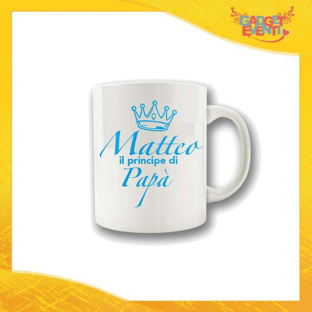"""Tazza Maschietto """"Principe di Papà"""" Colazione Breakfast Mug Idea Regalo Festa del Papà Gadget Eventi"""