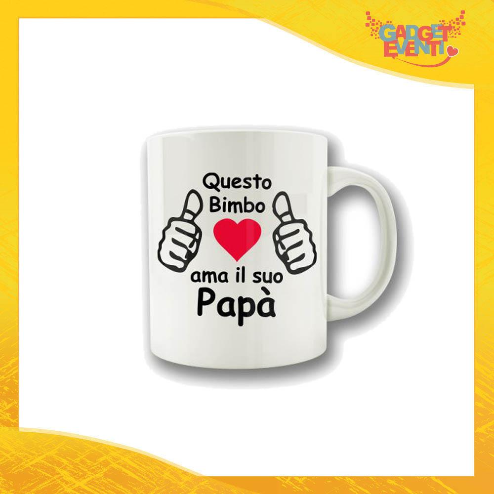 """Tazza """"Ama il Suo Papà"""" Colazione Breakfast Mug Idea Regalo Festa del Papà Gadget Eventi"""