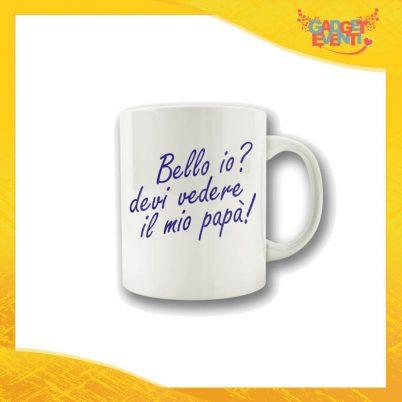 """Tazza Maschietto """"Bello Io?"""" Colazione Breakfast Mug Idea Regalo Festa del Papà Gadget Eventi"""