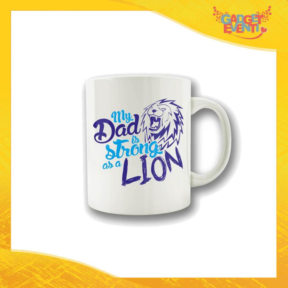 """Tazza Maschietto """"Dad Lion"""" Colazione Breakfast Mug Idea Regalo Festa del Papà Gadget Eventi"""