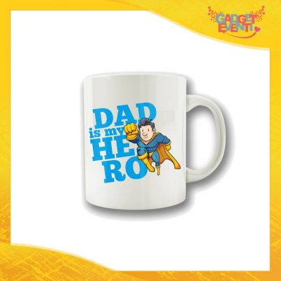 "Tazza Maschietto ""Dad is My Hero Supereroe"" Colazione Breakfast Mug Idea Regalo Festa del Papà Gadget Eventi"