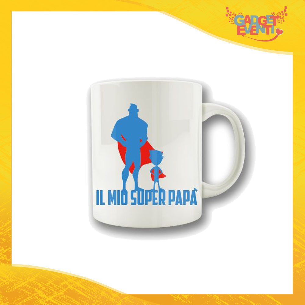 """Tazza Maschietto """"Il mio Super Papà"""" Colazione Breakfast Mug Idea Regalo Festa del Papà Gadget Eventi"""