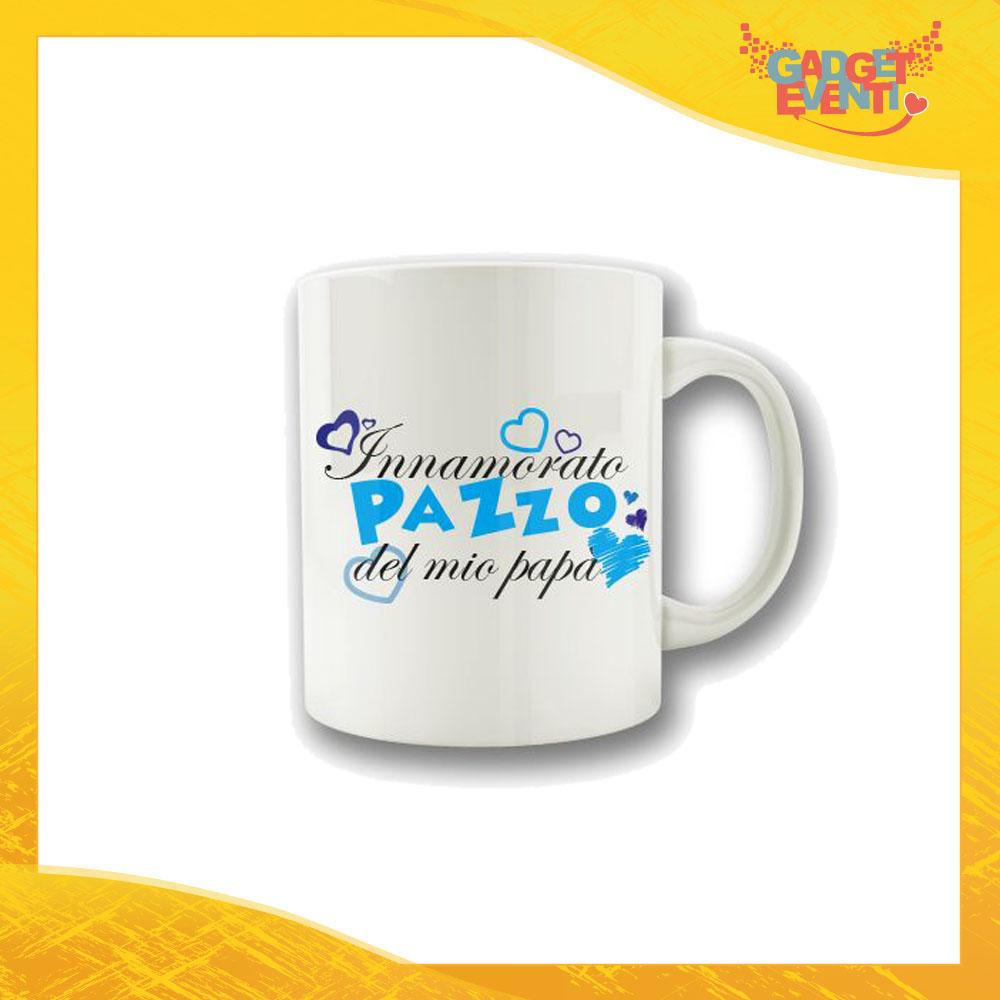 """Tazza Maschietto """"Innamorato Pazzo del mio Papà"""" Colazione Breakfast Mug Idea Regalo Festa del Papà Gadget Eventi"""