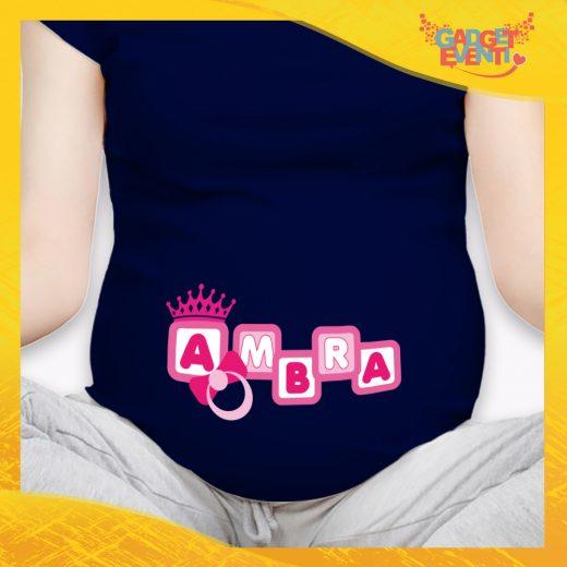 """T-shirt Premaman femminuccia Nera """"Corona Anello"""" idea regalo gadget eventi"""