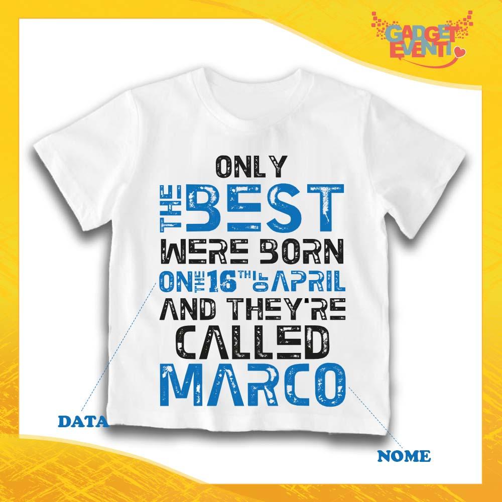 T-Shirt Bimbo Maglietta Personalizzata per Feste di Compleanno Nome Personalizzato 2 Anni Maglia Bambino per Compleanni 3-4 Anni, Bianco