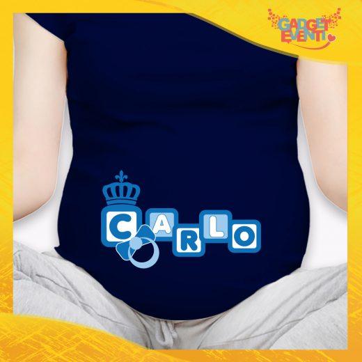 """T-shirt Premaman Maschietto Nera """"Corona Anello"""" idea regalo gadget eventi"""