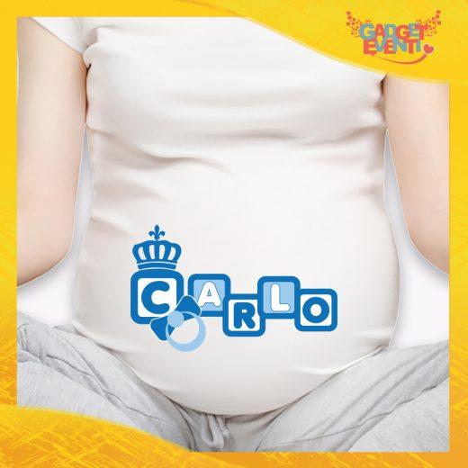"""T-shirt Premaman Maschietto Bianca """"Corona Anello"""" idea regalo gadget eventi"""