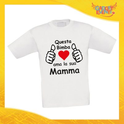 """Maglietta Bambino Bambina """"Ama sua Madre"""" Idea Regalo T-shirt Festa della Mamma Gadget Eventi"""