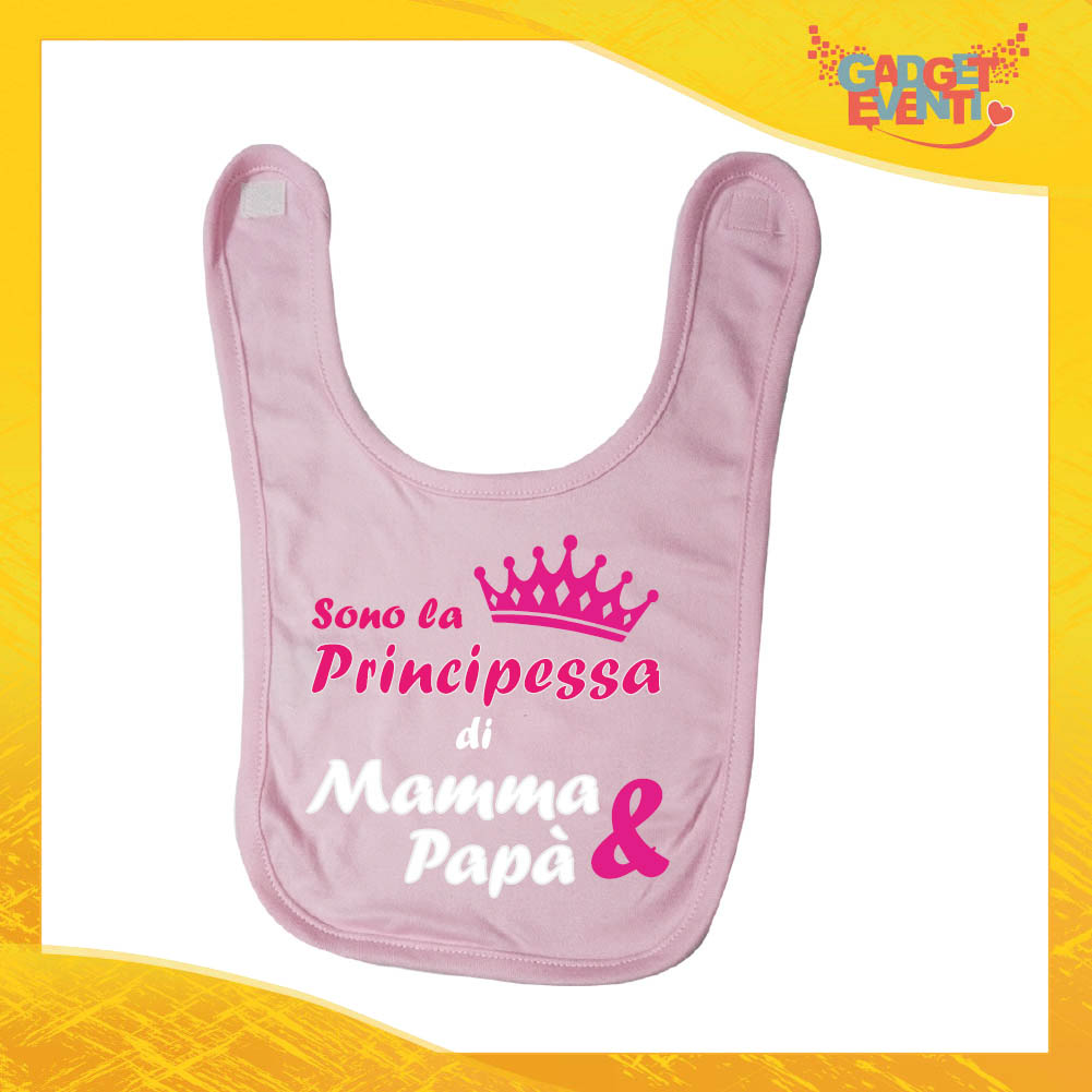 "Bavetto Rosa Femminuccia Bavaglino Bimba ""Principessa di Mamma e Papà"" Gadget Eventi"