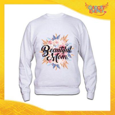 """Felpa Bianca """"Beautiful Mom Fiori"""" Idea Regalo Festa della Mamma Gadget Eventi"""