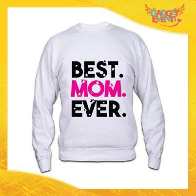 """Felpa Bianca """"Best Mom"""" Grafica Standard Idea Regalo Festa della Mamma Gadget Eventi"""