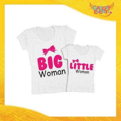 """Coppia t-shirt bianca bambino """"Big Little Woman"""" madre figli idea regalo festa della mamma gadget eventi"""
