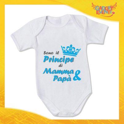 """Body Neonato Maschietto Bodino Bimbo """"Principe di Mamma e Papà"""" Gadget Eventi"""