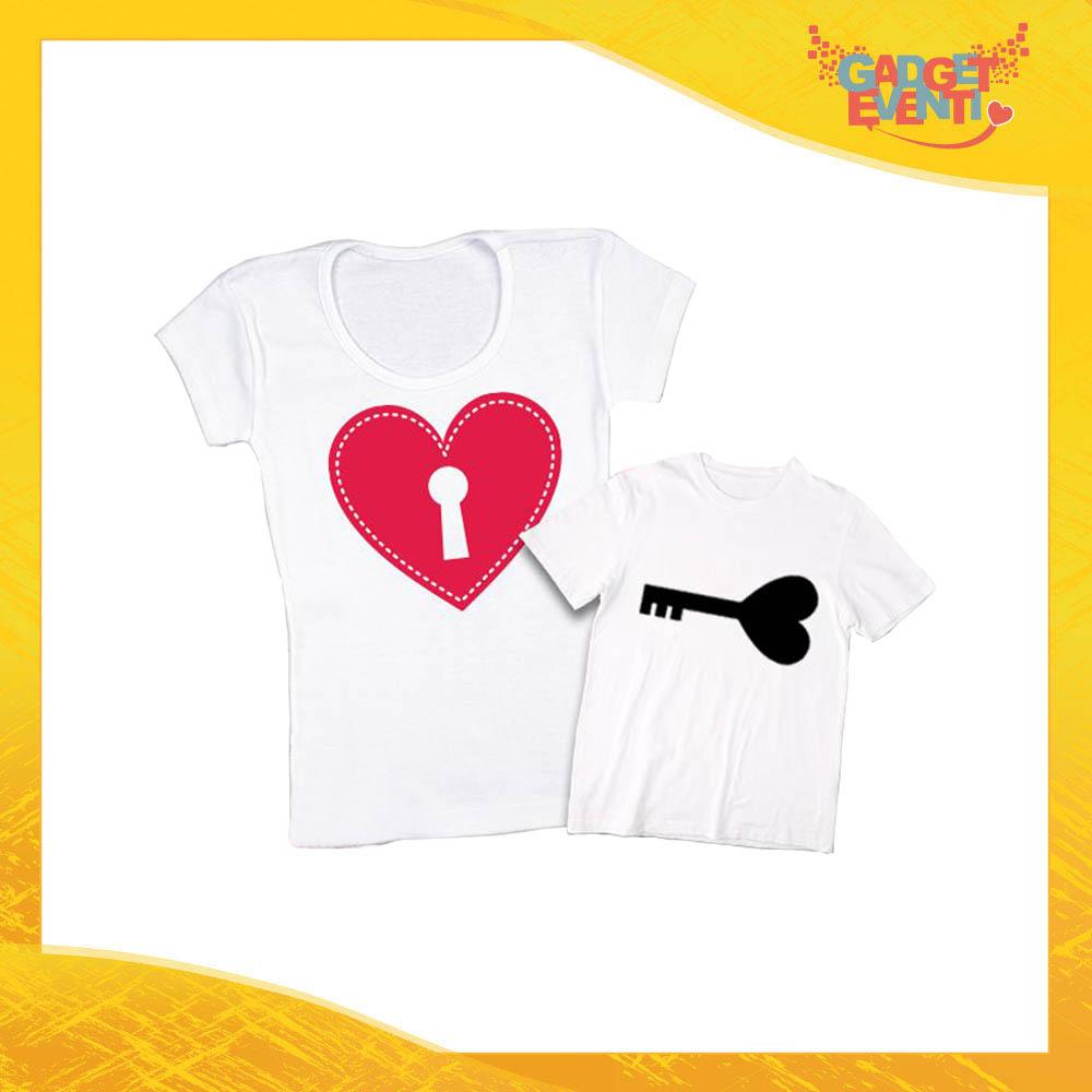 """Coppia t-shirt bianca bambino """"Chiave e Lucchetto"""" madre figli idea regalo festa della mamma gadget eventi"""