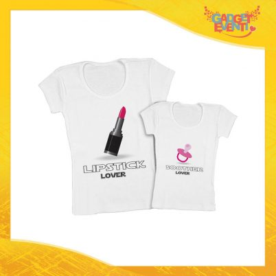 """Coppia t-shirt bianca femminuccia """"Ciuccio e Rossetto"""" madre figli idea regalo festa della mamma gadget eventi"""