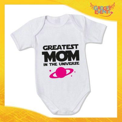 """Bodino Femminuccia """"Greatest Mom Universe"""" body bimbo Idea Regalo Festa della Mamma Gadget Eventi"""