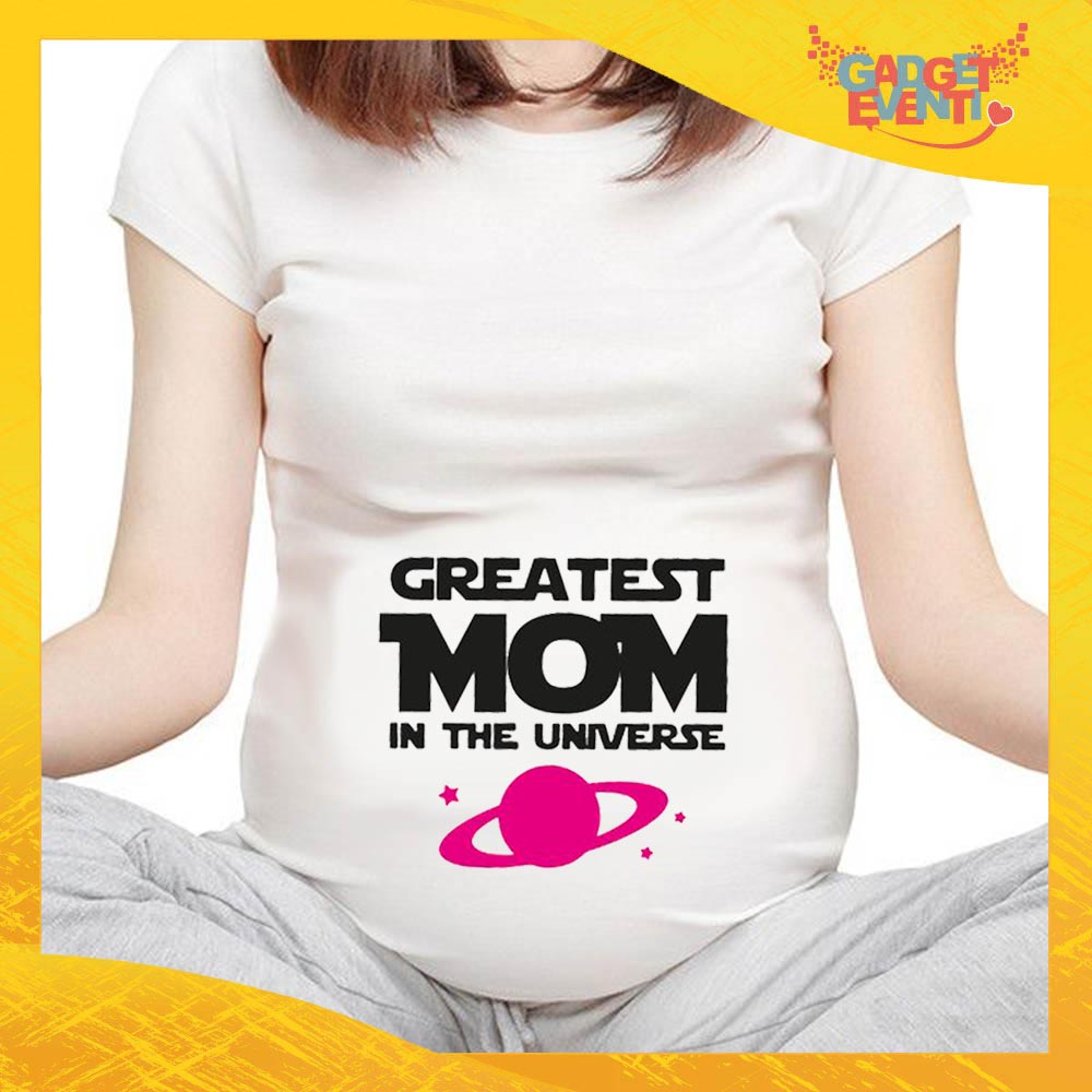 """T-shirt Premaman Bianca femminuccia """"Greatest Mom Universe"""" idea regalo festa della mamma gadget eventi"""